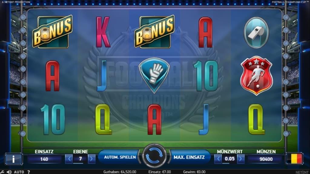 Football Champions Cup Netent Casino Spielverlauf