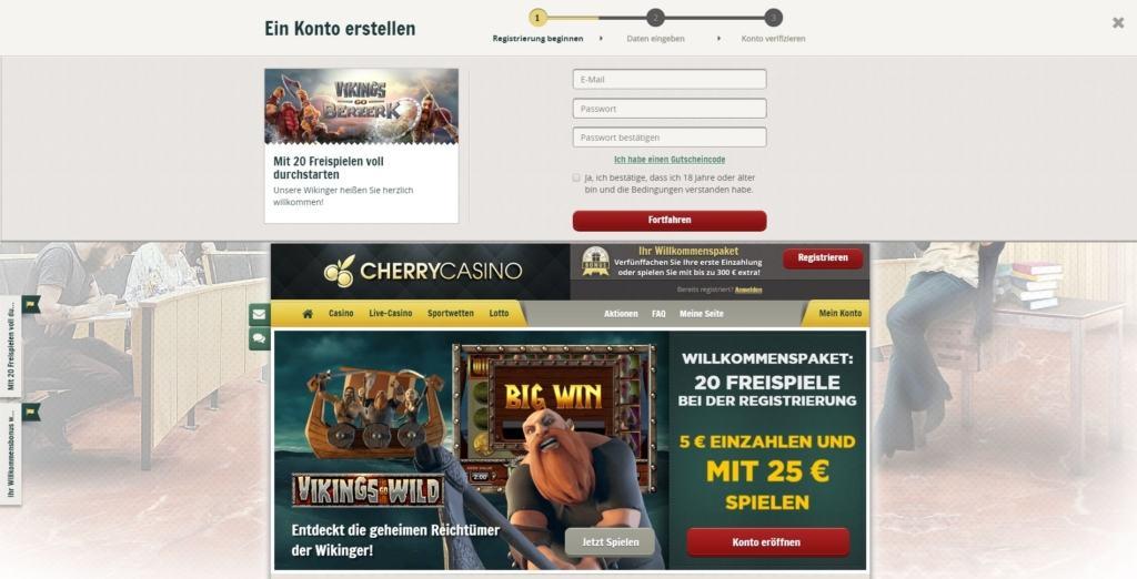 Registrierung im CherryCasino