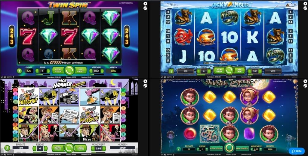 Vier Slots gleichzeitig im Quasar Netent Casino gespielt