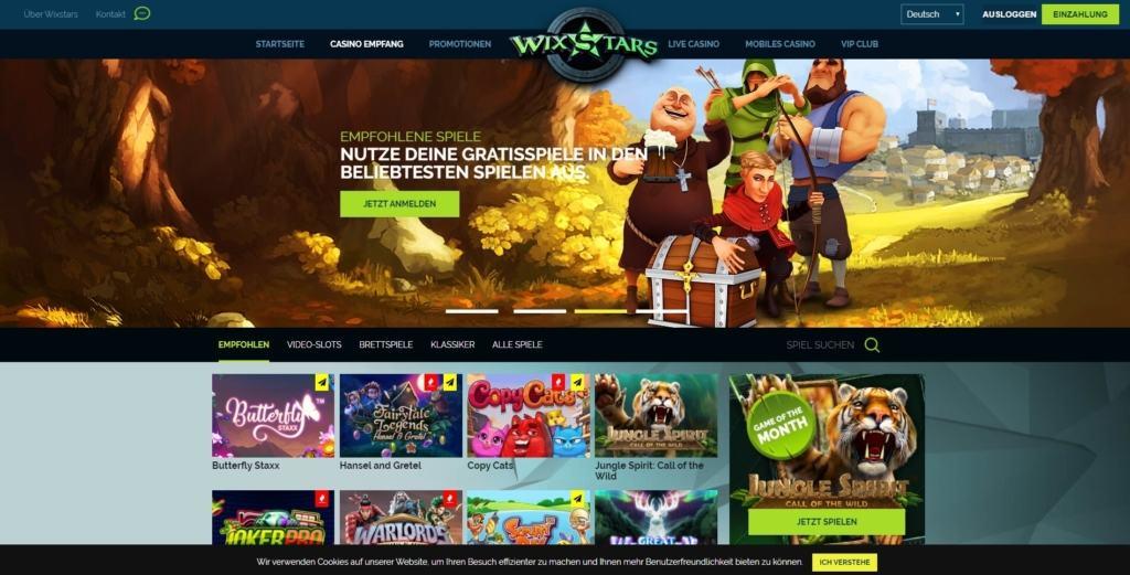 Übersicht vom Wixstars Netent Casino