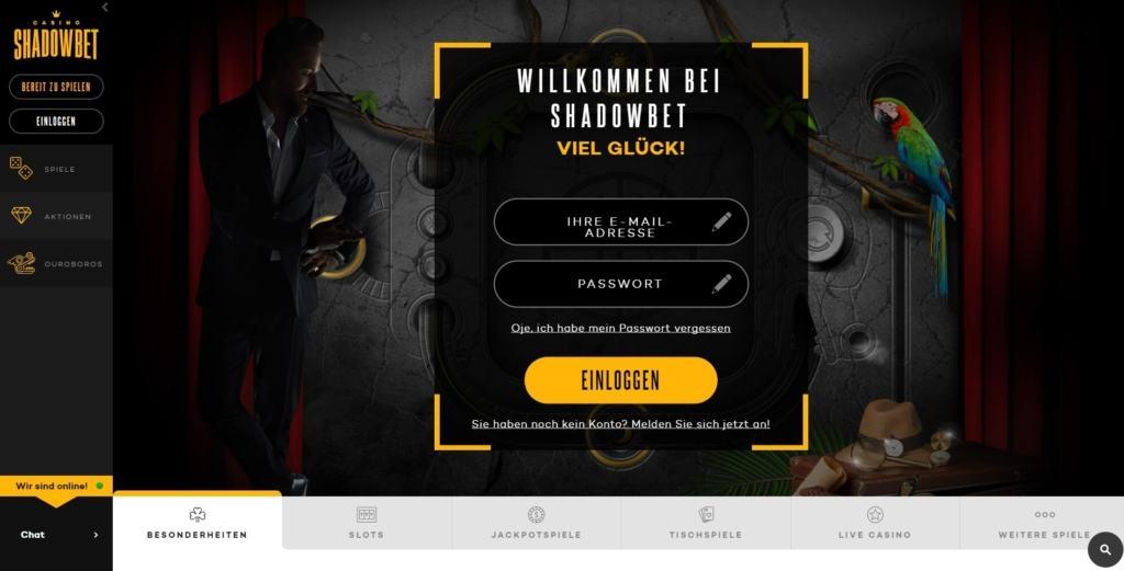 ShadowBet Netent Casino Startseite