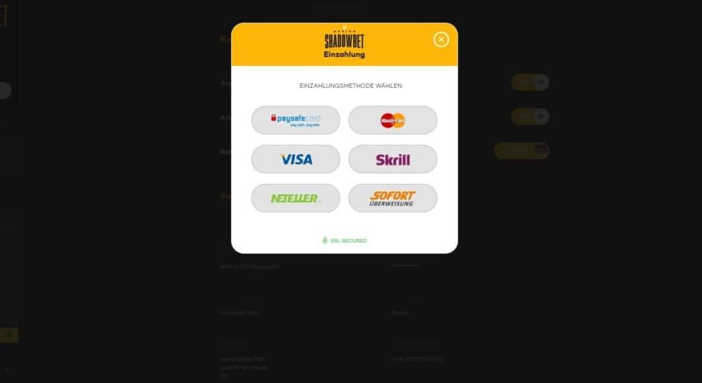 ShadowBet Netent Casino Zahlungsmöglichkeiten