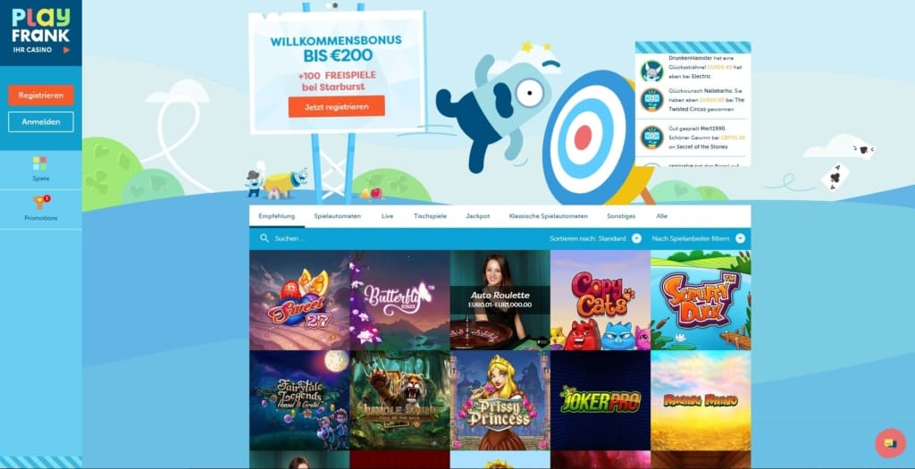 PlayFrank Netent Casino Startseite