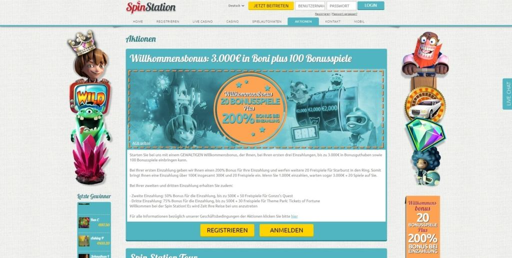 SpinStation Netent Casino Bonusangebot