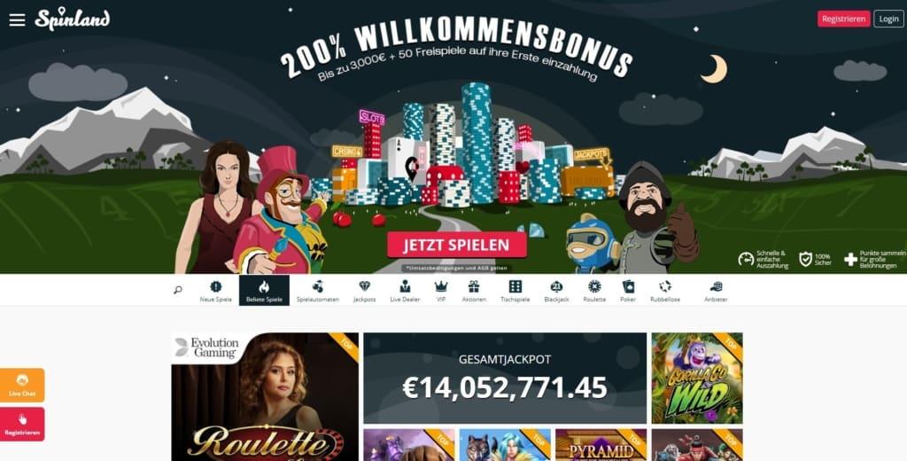 SpinLand Netent Casino Startseite