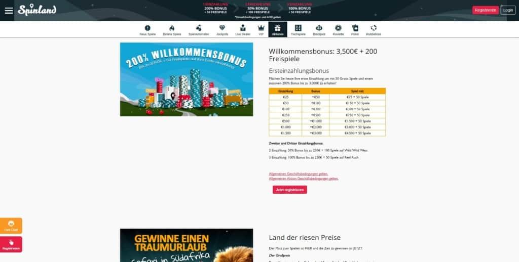 SpinLand Netent Casino Willkommensbonus und Aktionen