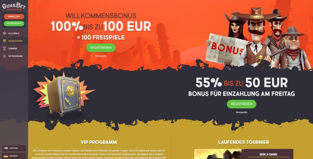 GunsBet Netent Casino Bonusangebote