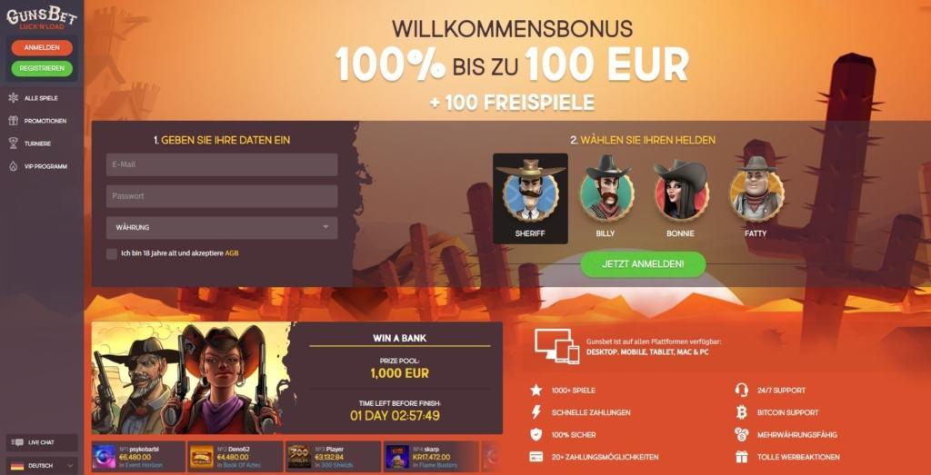 GunsBet Netent Casino Startseite