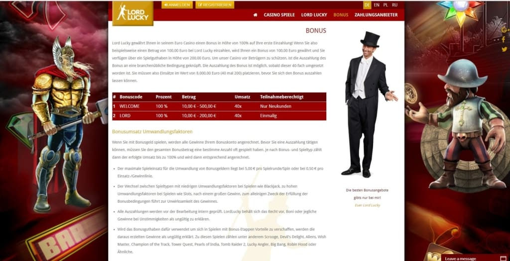 Lord Lucky Netent Casino Bonusangebote