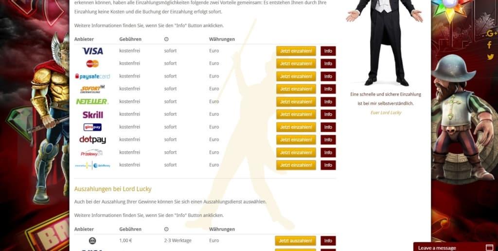 Lord Lucky Netent Casino Zahlungsarten