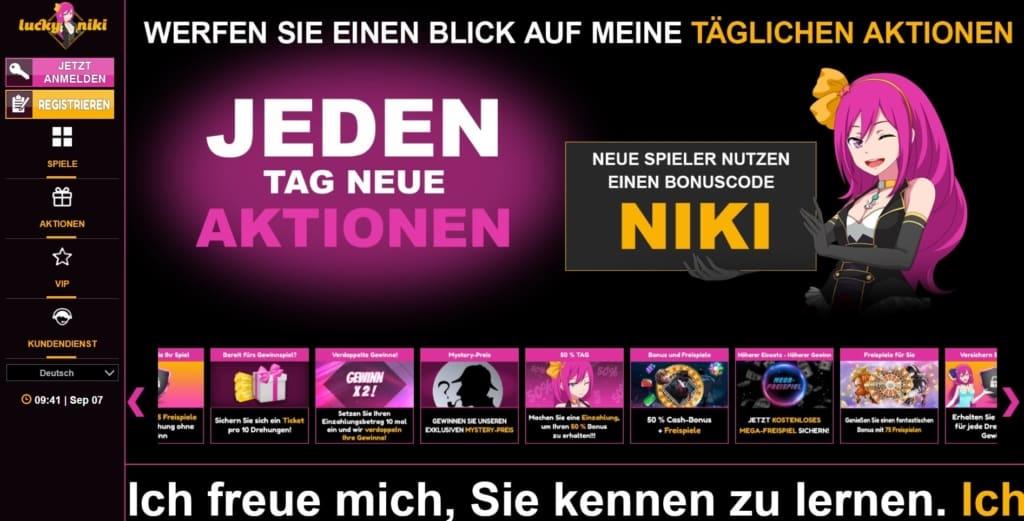 LuckyNiki Netent Casino Startseite