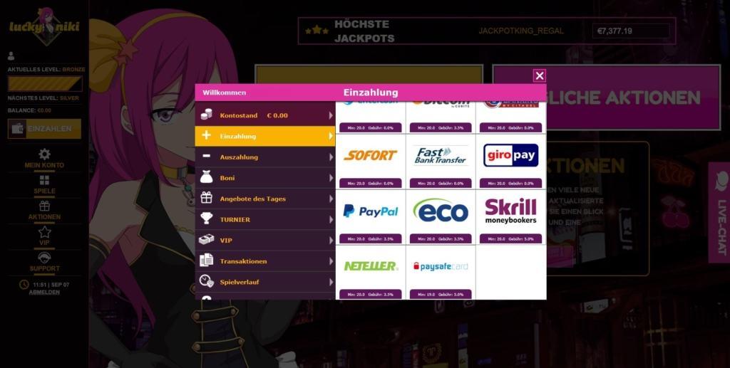 LuckyNiki Netent Casino Zahlungsmöglichkeiten