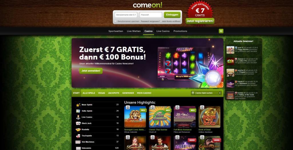 ComeOn Netent Casino Startseite
