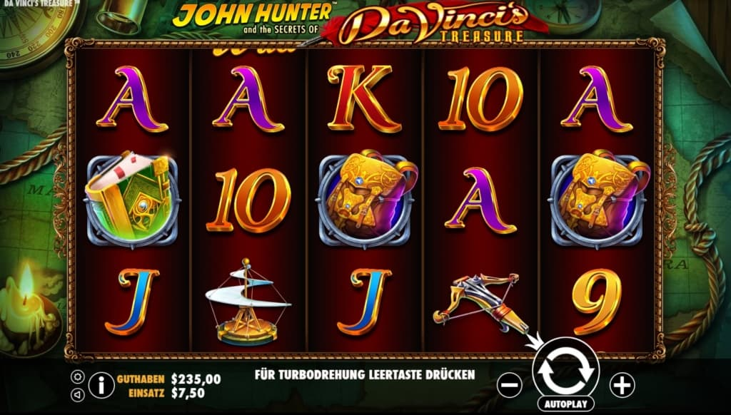 john hunter da vincis treasure casino slot übersicht