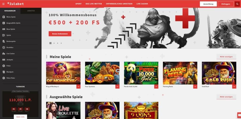 Zulabet Casino Startseite