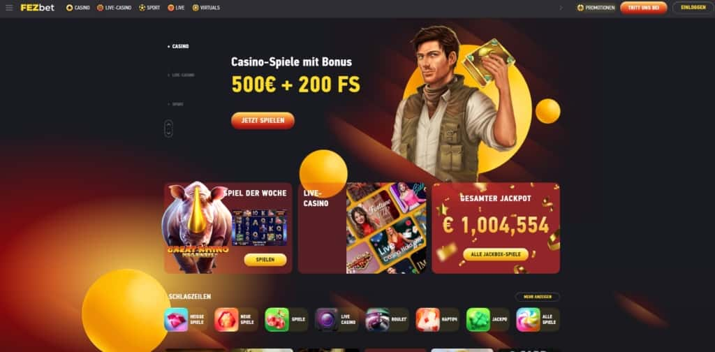 FEZbet Casino Startseite