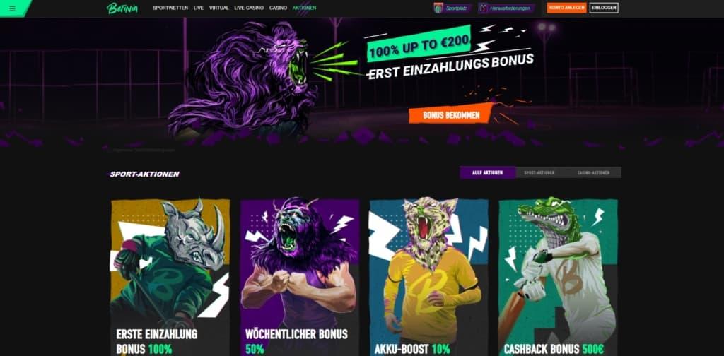 Betinia Casino Bonus und Sportwetten Bonus
