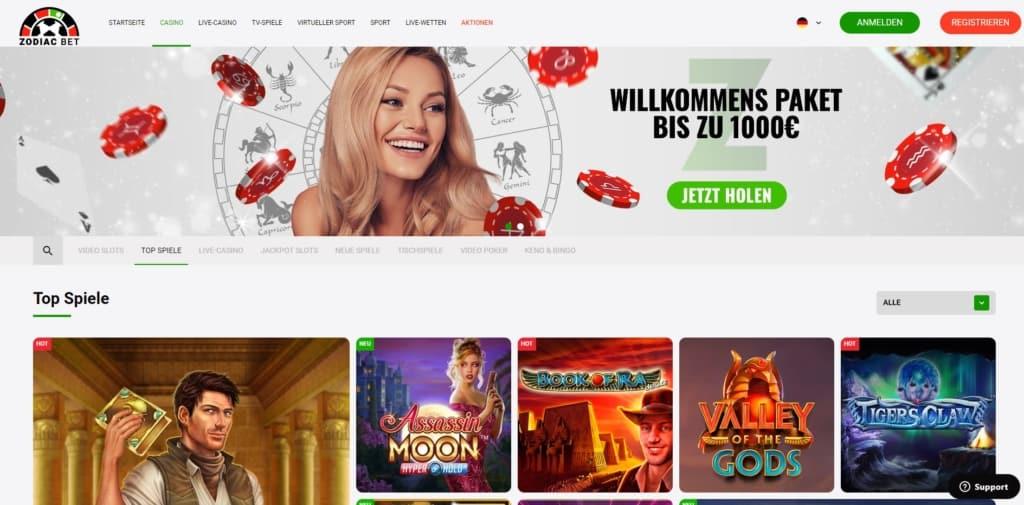 Zodiac Bet Casino Startseite